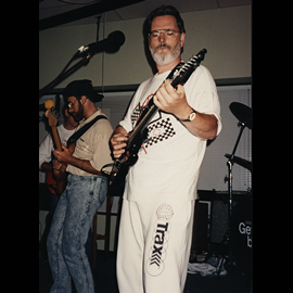 1991 Taking a vocal break to back up one of Mickey's amazing solos! I'm the only guy in the band who didn't play a Fender! This is a 1985 Westone Spectrum ST.